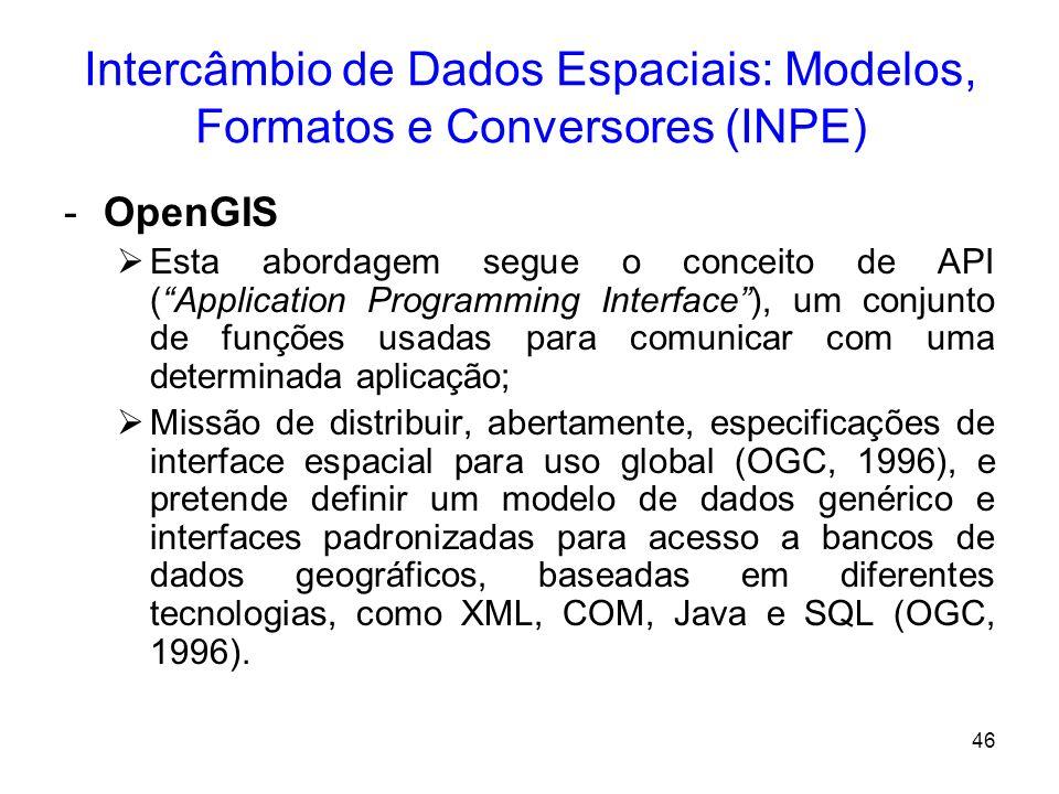 45 Intercâmbio de Dados Espaciais: Modelos, Formatos e Conversores (INPE) –SDTS (Spatial Data Transfer Standard) É um padrão para dados de SIG. Especi