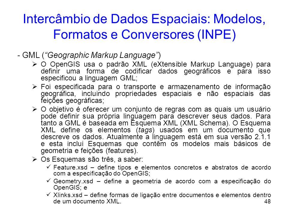 47 Intercâmbio de Dados Espaciais: Modelos, Formatos e Conversores (INPE) Câmara et al.(1999), apresenta uma análise do modelo conceitual de três SIGs