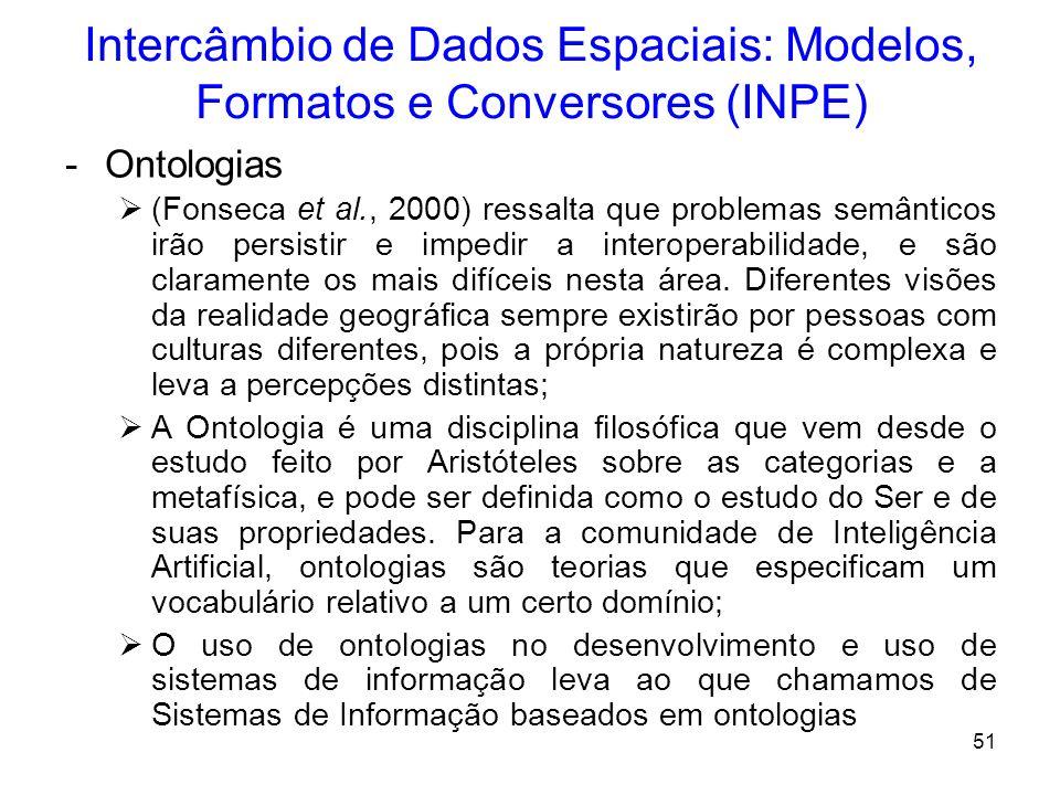 50 Intercâmbio de Dados Espaciais: Modelos, Formatos e Conversores (INPE) -Uso de Metadados Metadados são dados sobre os dados, descrevem o conteúdo,