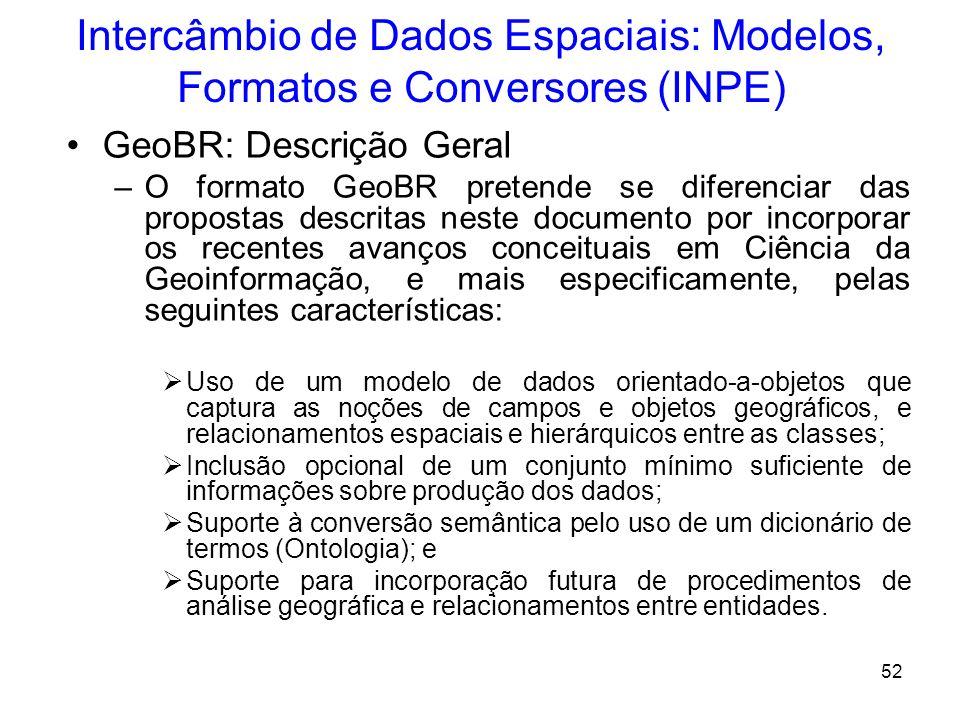 51 Intercâmbio de Dados Espaciais: Modelos, Formatos e Conversores (INPE) -Ontologias (Fonseca et al., 2000) ressalta que problemas semânticos irão pe