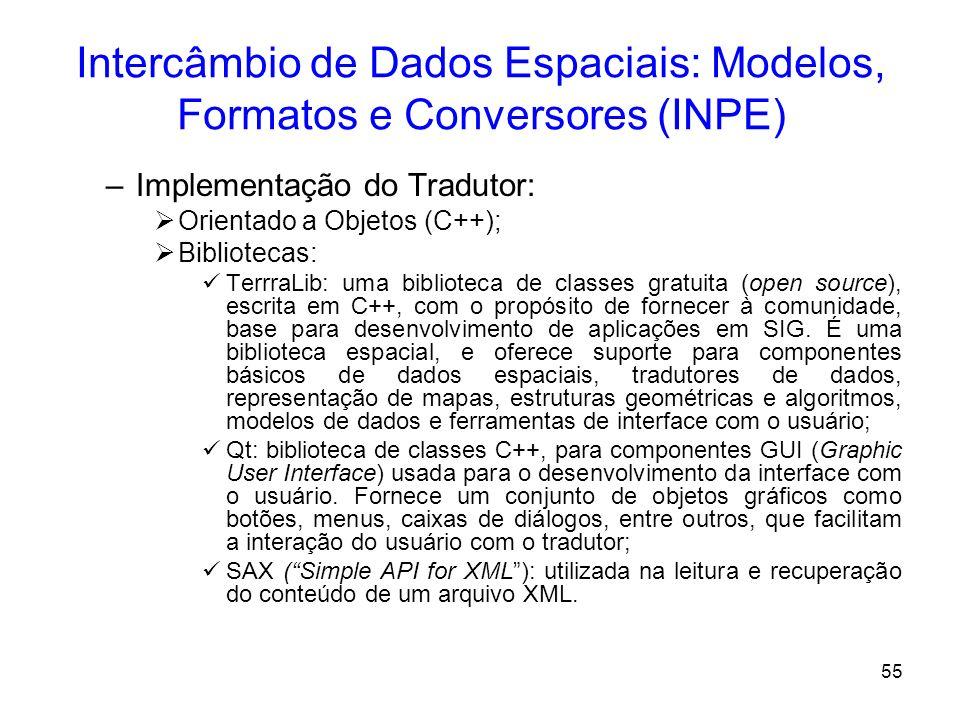 54 Intercâmbio de Dados Espaciais: Modelos, Formatos e Conversores (INPE) Conversor – Terra Translator –Descrição Geral: O propósito do TerraTranslato