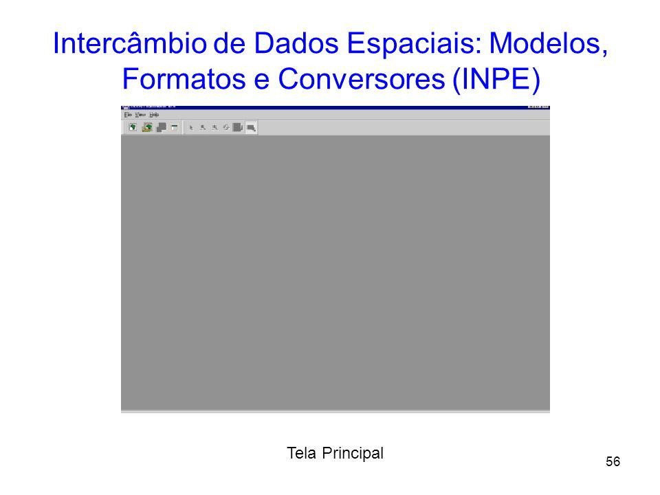 55 Intercâmbio de Dados Espaciais: Modelos, Formatos e Conversores (INPE) –Implementação do Tradutor: Orientado a Objetos (C++); Bibliotecas: TerrraLi