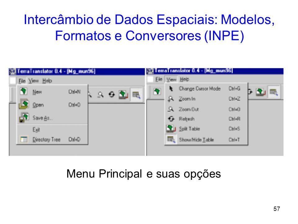 56 Intercâmbio de Dados Espaciais: Modelos, Formatos e Conversores (INPE) Tela Principal