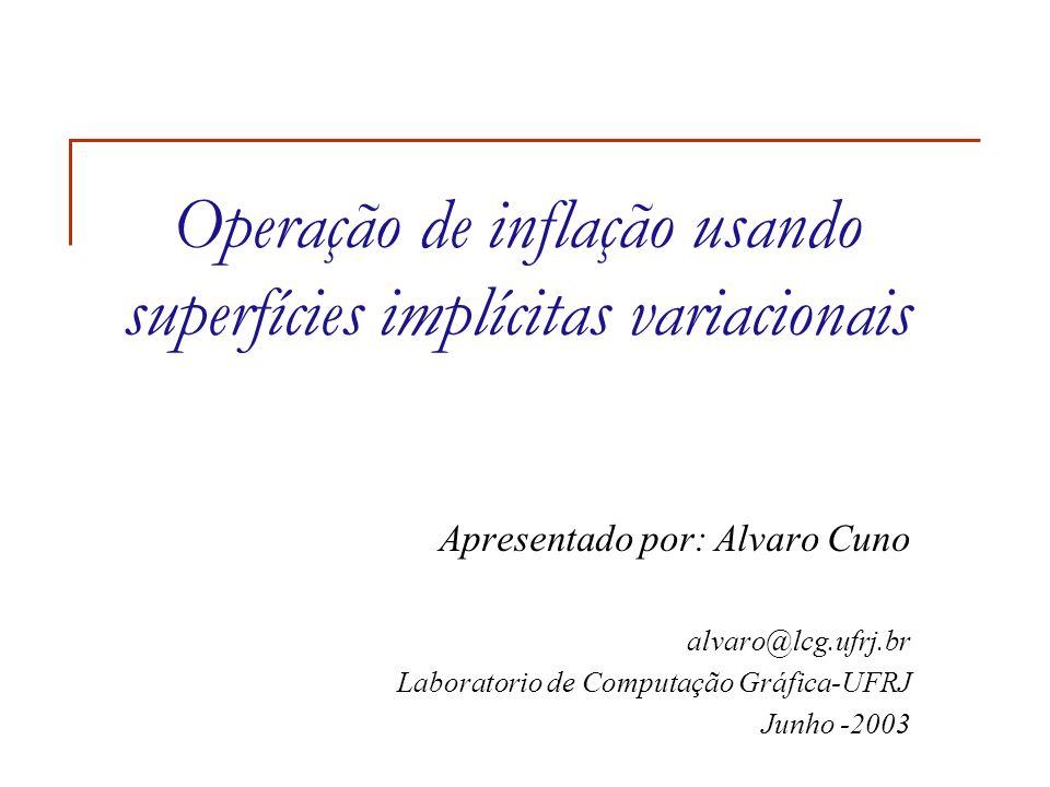 Operação de inflação usando superfícies implícitas variacionais Apresentado por: Alvaro Cuno alvaro@lcg.ufrj.br Laboratorio de Computação Gráfica-UFRJ