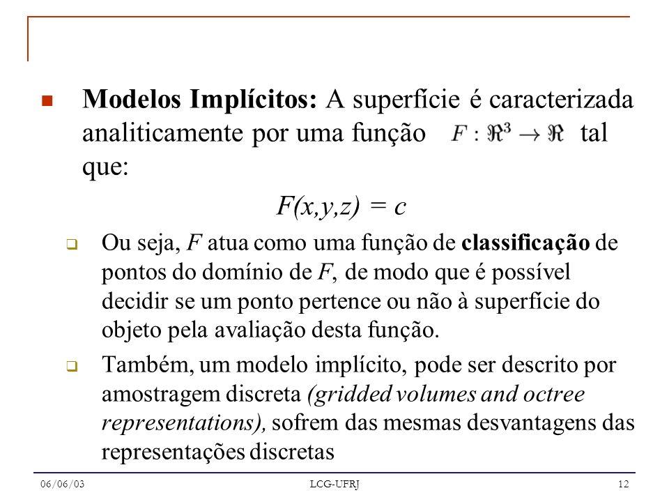 06/06/03 LCG-UFRJ 12 Modelos Implícitos: A superfície é caracterizada analiticamente por uma função tal que: F(x,y,z) = c Ou seja, F atua como uma fun