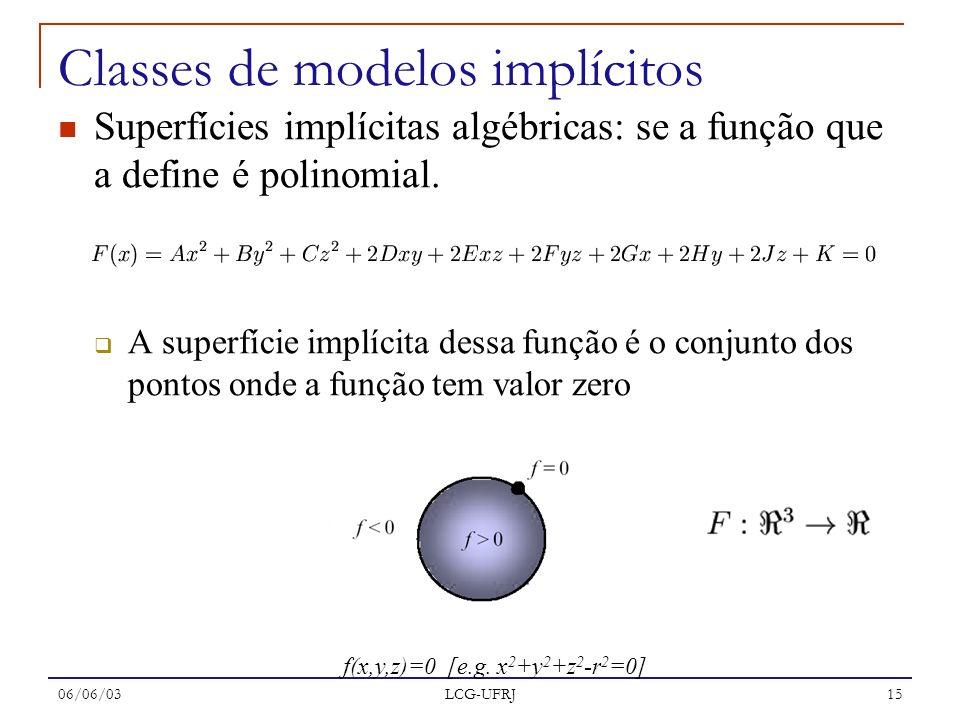06/06/03 LCG-UFRJ 15 Superfícies implícitas algébricas: se a função que a define é polinomial. A superfície implícita dessa função é o conjunto dos po