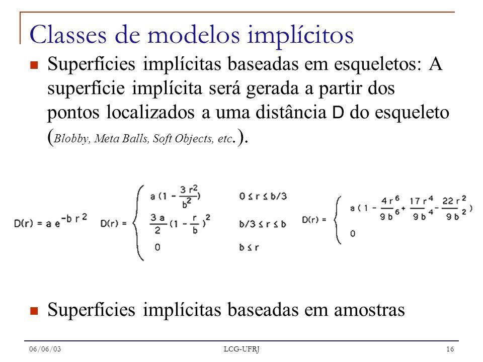 06/06/03 LCG-UFRJ 16 Superfícies implícitas baseadas em esqueletos: A superfície implícita será gerada a partir dos pontos localizados a uma distância