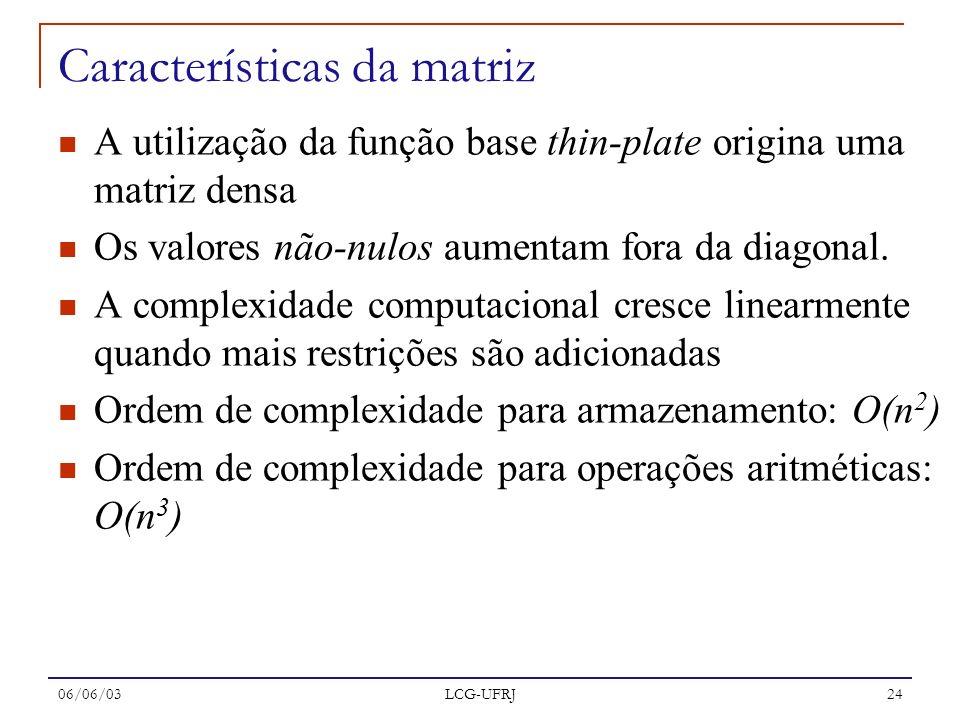 06/06/03 LCG-UFRJ 24 Características da matriz A utilização da função base thin-plate origina uma matriz densa Os valores não-nulos aumentam fora da d