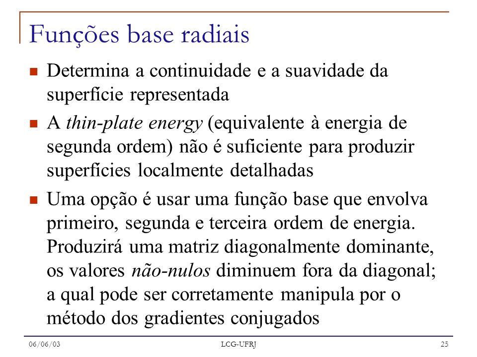 06/06/03 LCG-UFRJ 25 Determina a continuidade e a suavidade da superfície representada A thin-plate energy (equivalente à energia de segunda ordem) nã