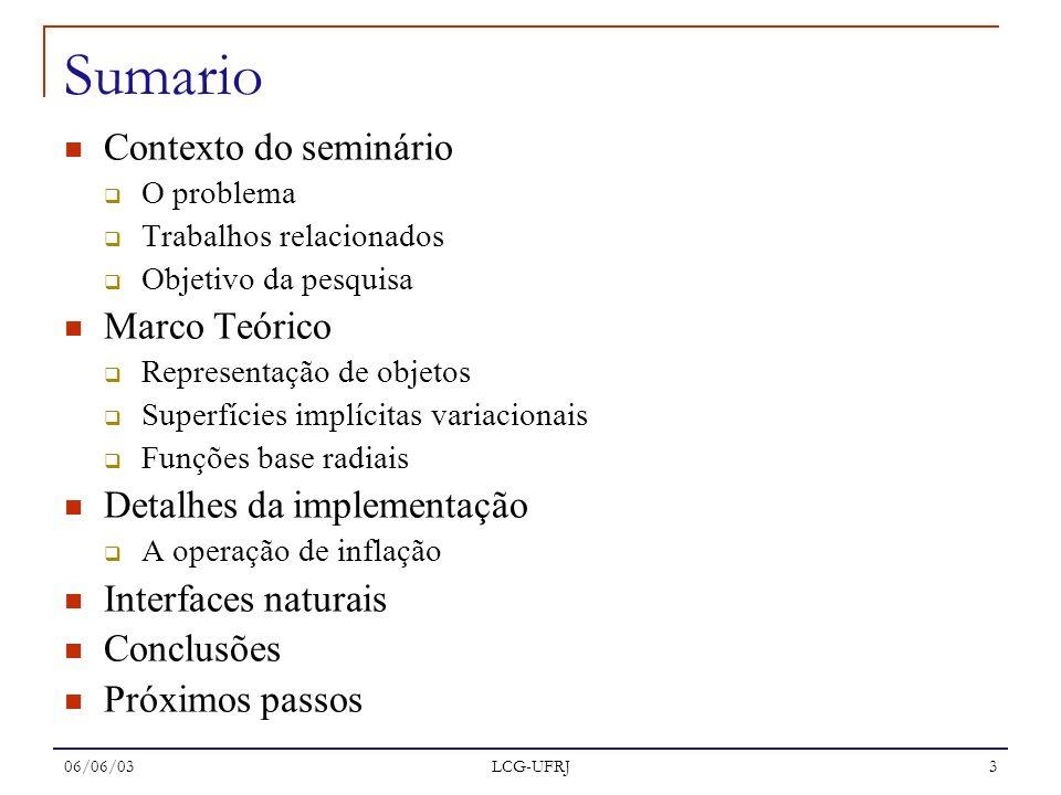 06/06/03 LCG-UFRJ 3 Sumario Contexto do seminário O problema Trabalhos relacionados Objetivo da pesquisa Marco Teórico Representação de objetos Superf