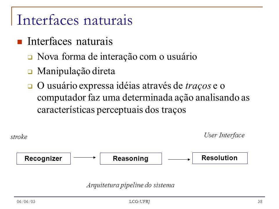 06/06/03 LCG-UFRJ 38 Interfaces naturais Nova forma de interação com o usuário Manipulação direta O usuário expressa idéias através de traços e o comp