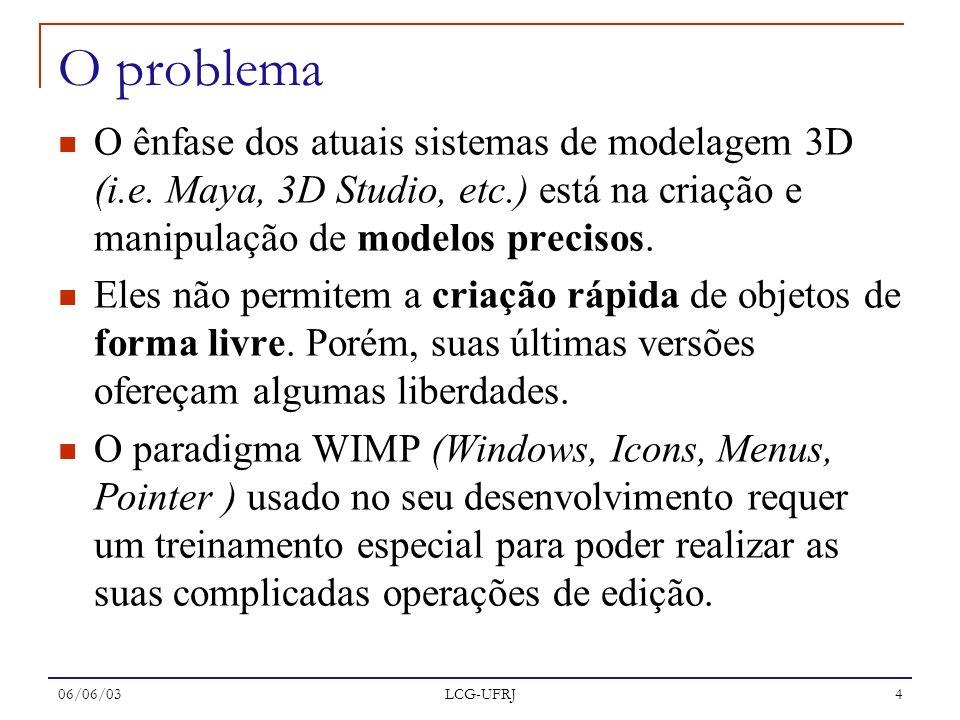 06/06/03 LCG-UFRJ 4 O problema O ênfase dos atuais sistemas de modelagem 3D (i.e. Maya, 3D Studio, etc.) está na criação e manipulação de modelos prec