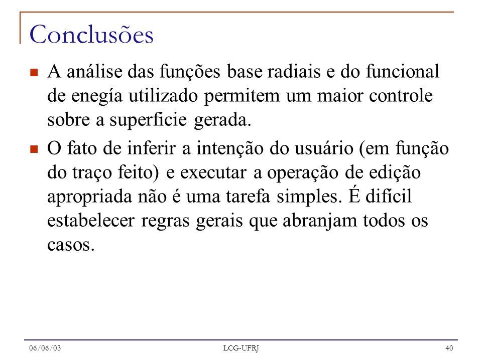 06/06/03 LCG-UFRJ 40 Conclusões A análise das funções base radiais e do funcional de enegía utilizado permitem um maior controle sobre a superficie ge