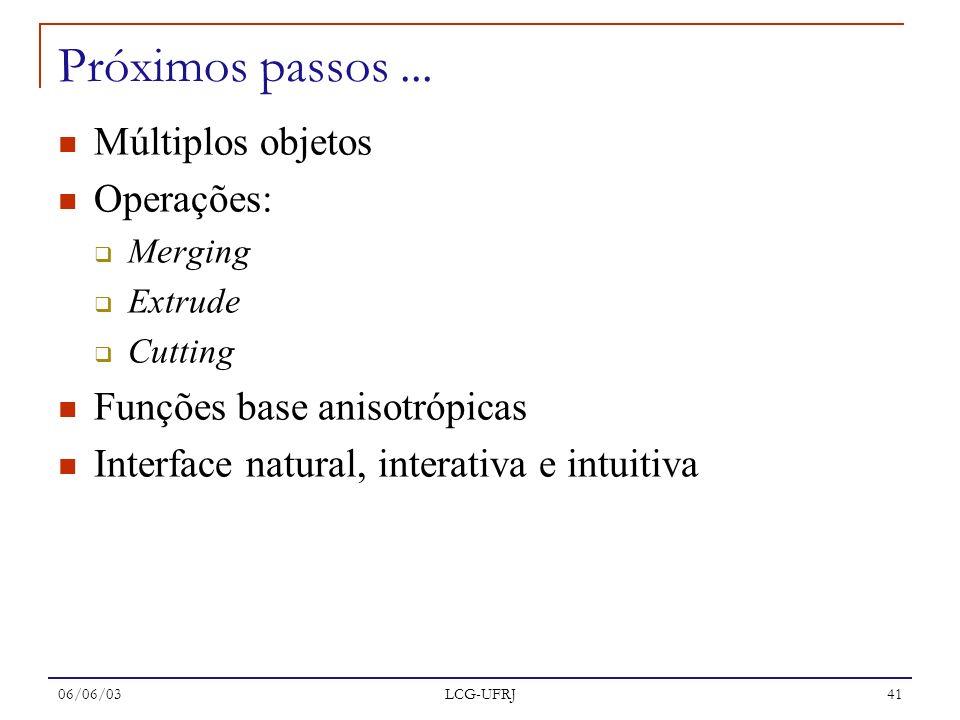 06/06/03 LCG-UFRJ 41 Próximos passos... Múltiplos objetos Operações: Merging Extrude Cutting Funções base anisotrópicas Interface natural, interativa