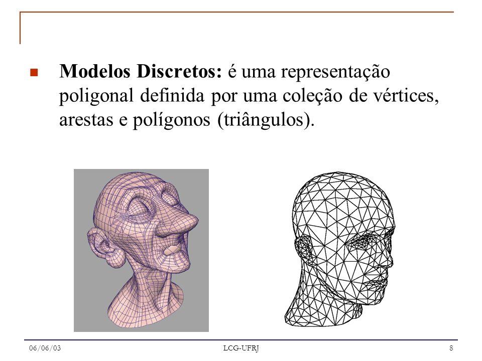 06/06/03 LCG-UFRJ 8 Modelos Discretos: é uma representação poligonal definida por uma coleção de vértices, arestas e polígonos (triângulos).