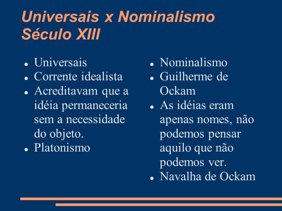 Universais x Nominalismo Século XIII Universais Corrente idealista Acreditavam que a idéia permaneceria sem a necessidade do objeto. Platonismo Nomina