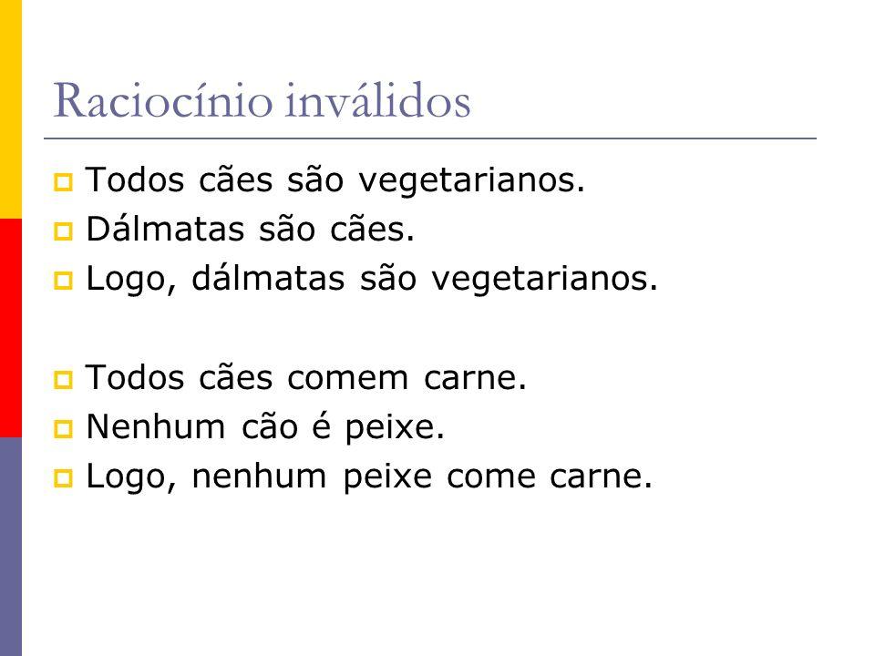Raciocínio inválidos Todos cães são vegetarianos. Dálmatas são cães. Logo, dálmatas são vegetarianos. Todos cães comem carne. Nenhum cão é peixe. Logo