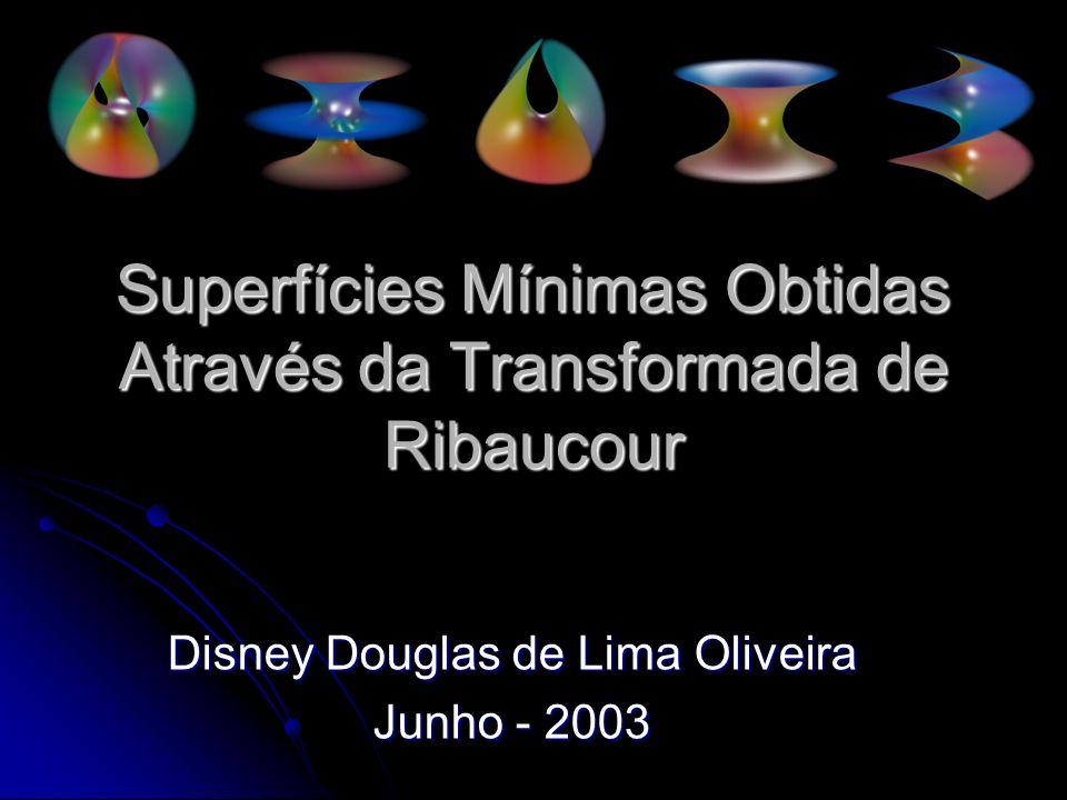 Conteúdo Um pouco de geometria diferencial Um pouco de geometria diferencial Superfícies Mínimas Superfícies Mínimas Histórico Histórico Transformada de Ribaucour Transformada de Ribaucour Superfícies associadas a Superfície de Enneper Superfícies associadas a Superfície de Enneper Superfícies Mínimas associadas ao Catenóide Superfícies Mínimas associadas ao Catenóide