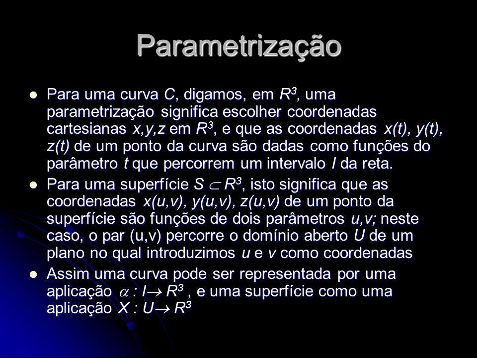 Parametrização Para uma curva C, digamos, em R 3, uma parametrização significa escolher coordenadas cartesianas x,y,z em R 3, e que as coordenadas x(t