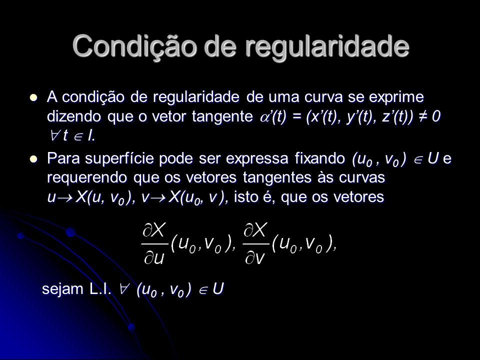 Condição de regularidade A condição de regularidade de uma curva se exprime dizendo que o vetor tangente (t) = (x(t), y(t), z(t)) 0 t I. A condição de