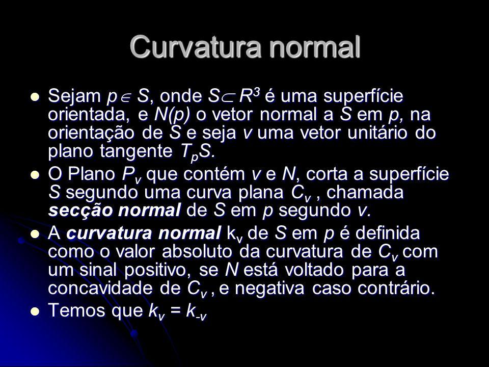 Curvatura normal Sejam p S, onde S R 3 é uma superfície orientada, e N(p) o vetor normal a S em p, na orientação de S e seja v uma vetor unitário do p