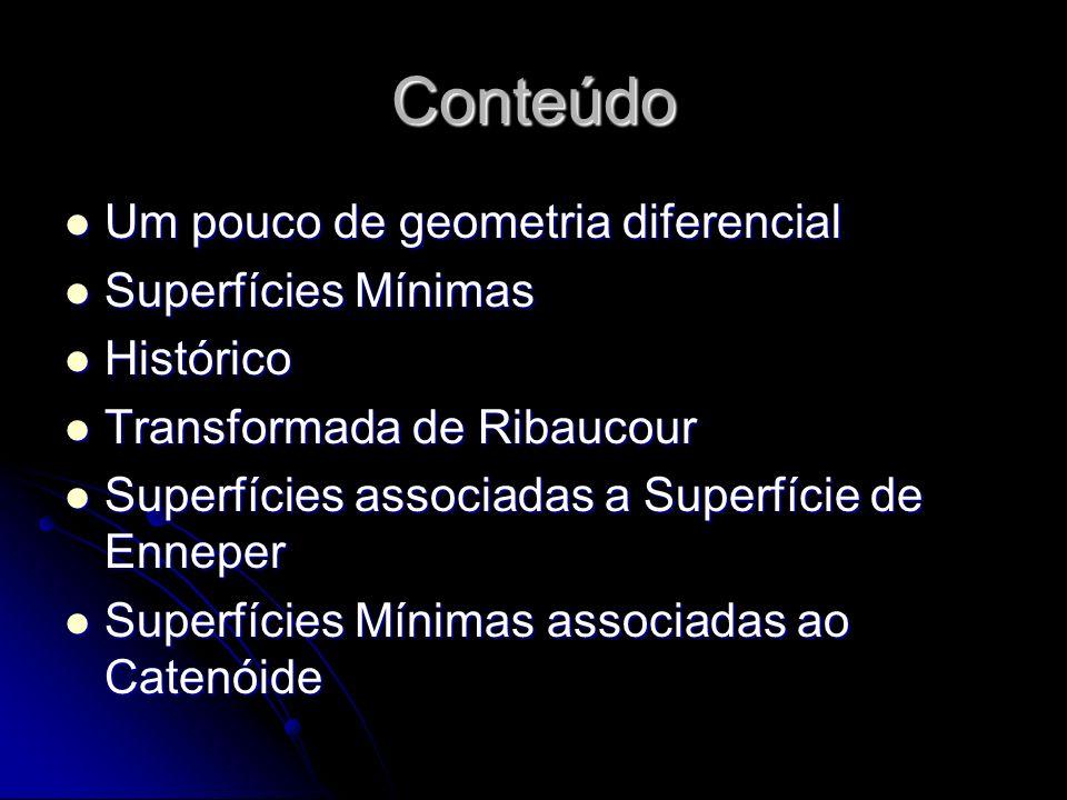 Conteúdo Um pouco de geometria diferencial Um pouco de geometria diferencial Superfícies Mínimas Superfícies Mínimas Histórico Histórico Transformada