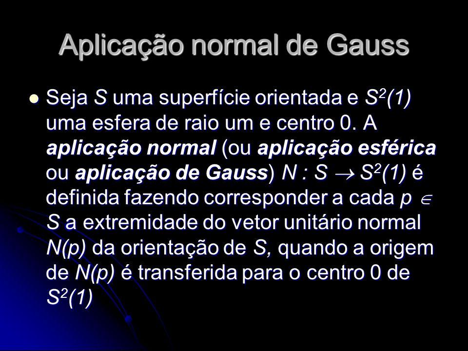 Aplicação normal de Gauss Seja S uma superfície orientada e S 2 (1) uma esfera de raio um e centro 0. A aplicação normal (ou aplicação esférica ou apl