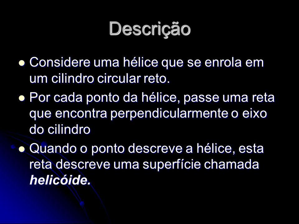 Descrição Considere uma hélice que se enrola em um cilindro circular reto. Considere uma hélice que se enrola em um cilindro circular reto. Por cada p