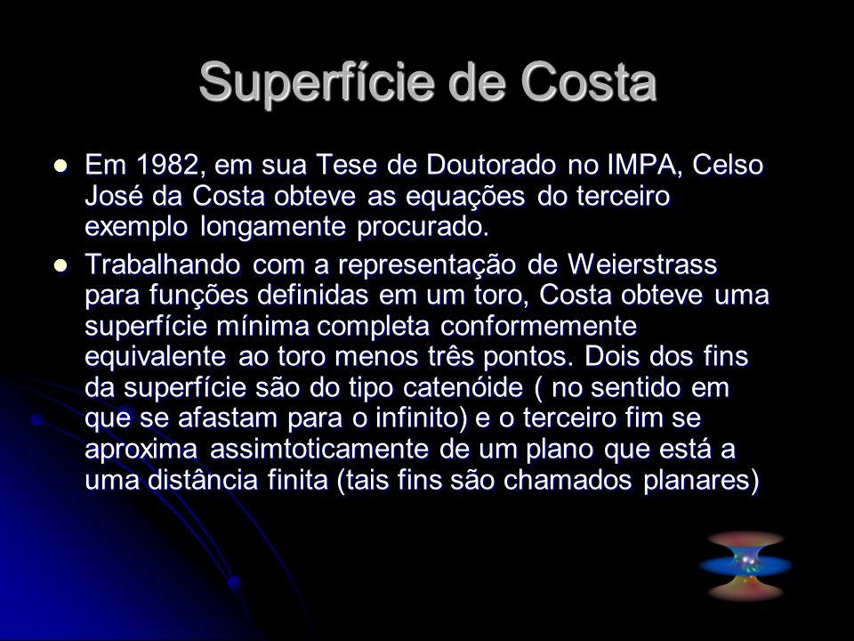 Superfície de Costa Em 1982, em sua Tese de Doutorado no IMPA, Celso José da Costa obteve as equações do terceiro exemplo longamente procurado. Em 198
