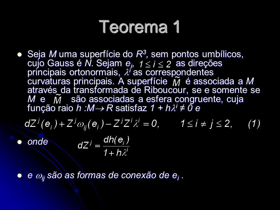 Teorema 1 Seja M uma superfície do R 3, sem pontos umbílicos, cujo Gauss é N. Sejam e i, as direções principais ortonormais, i as correspondentes curv