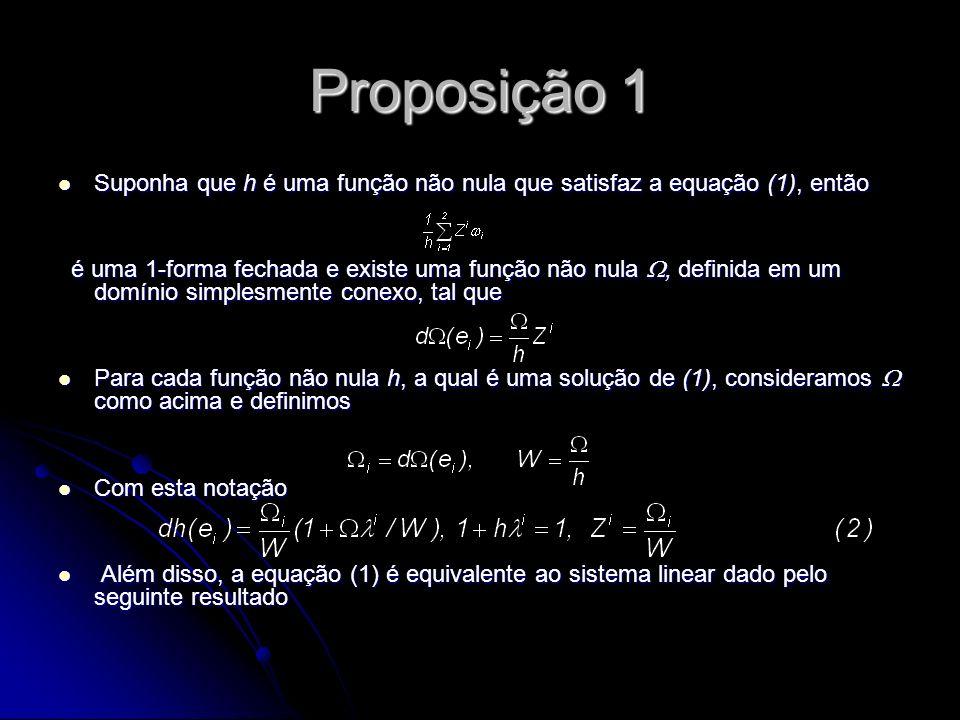Proposição 1 Suponha que h é uma função não nula que satisfaz a equação (1), então Suponha que h é uma função não nula que satisfaz a equação (1), ent