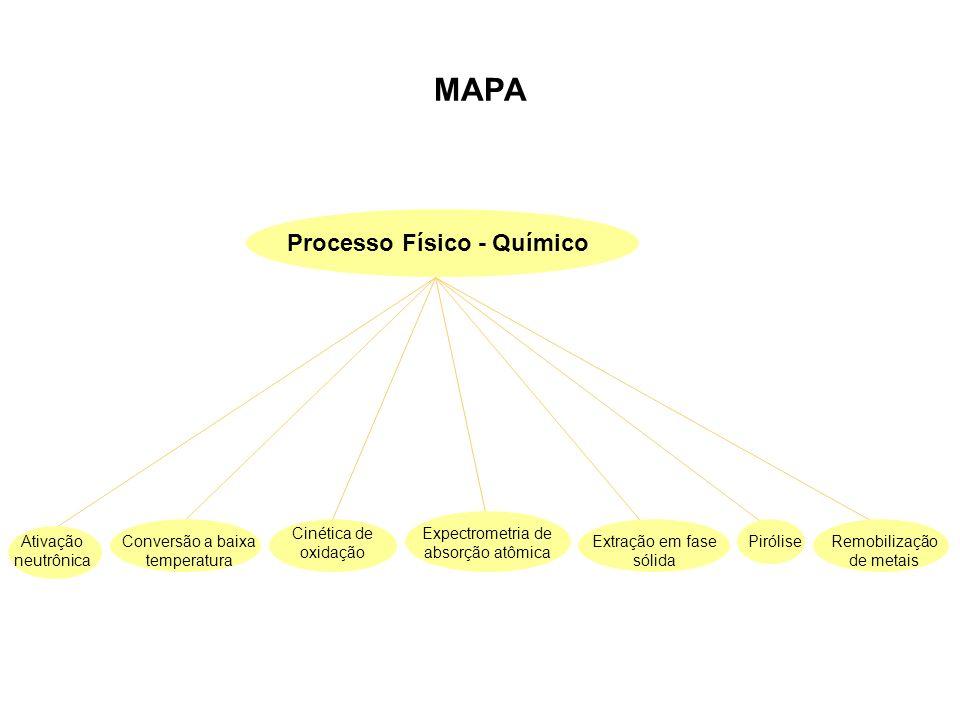 MAPA Processo Físico - Químico Conversão a baixa temperatura Cinética de oxidação Expectrometria de absorção atômica Extração em fase sólida Remobiliz