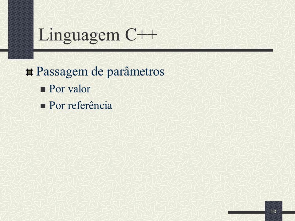 10 Linguagem C++ Passagem de parâmetros Por valor Por referência