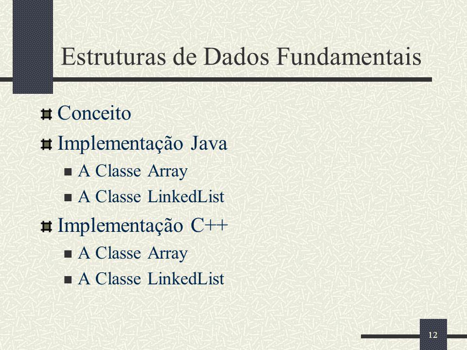 12 Estruturas de Dados Fundamentais Conceito Implementação Java A Classe Array A Classe LinkedList Implementação C++ A Classe Array A Classe LinkedLis