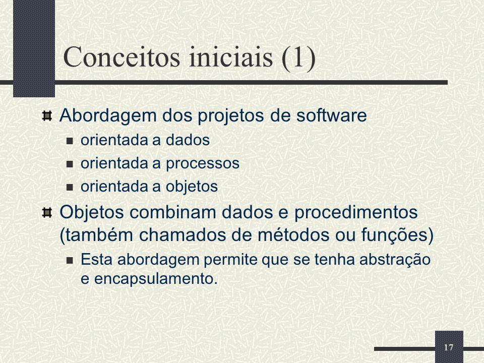 17 Conceitos iniciais (1) Abordagem dos projetos de software orientada a dados orientada a processos orientada a objetos Objetos combinam dados e proc