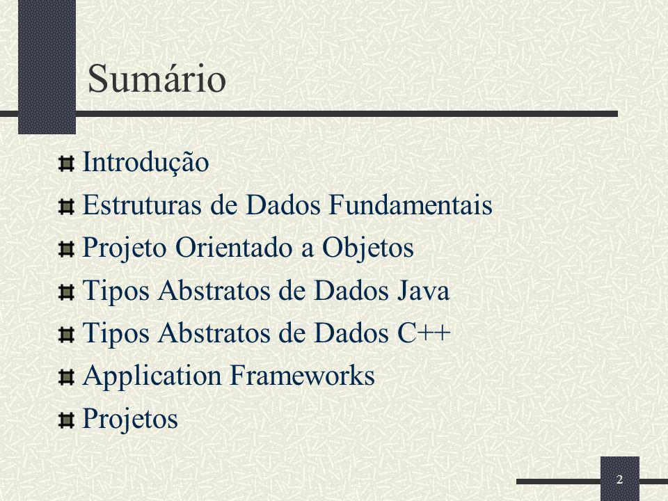 2 Sumário Introdução Estruturas de Dados Fundamentais Projeto Orientado a Objetos Tipos Abstratos de Dados Java Tipos Abstratos de Dados C++ Applicati