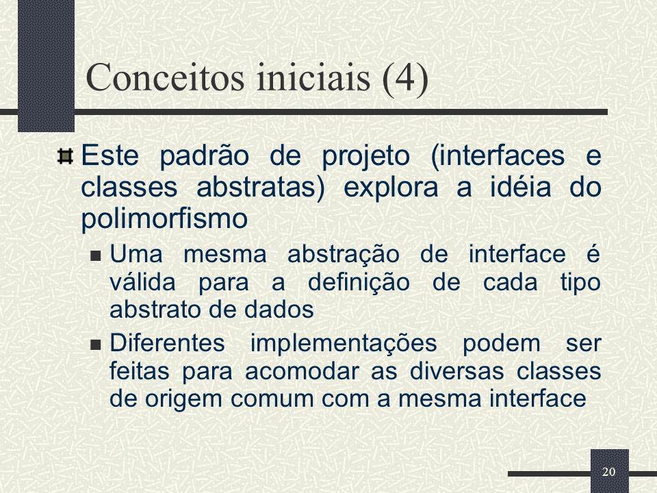 20 Conceitos iniciais (4) Este padrão de projeto (interfaces e classes abstratas) explora a idéia do polimorfismo Uma mesma abstração de interface é v