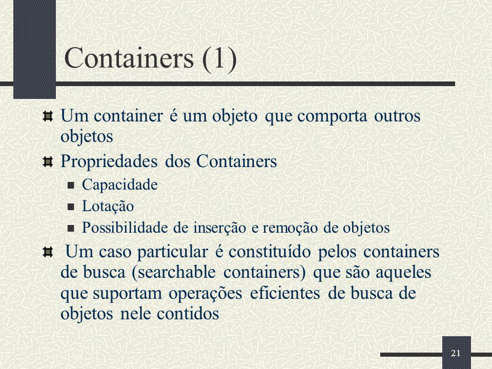 21 Containers (1) Um container é um objeto que comporta outros objetos Propriedades dos Containers Capacidade Lotação Possibilidade de inserção e remo