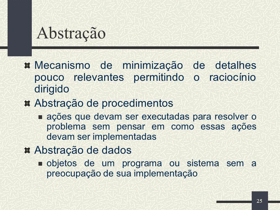 25 Abstração Mecanismo de minimização de detalhes pouco relevantes permitindo o raciocínio dirigido Abstração de procedimentos ações que devam ser exe
