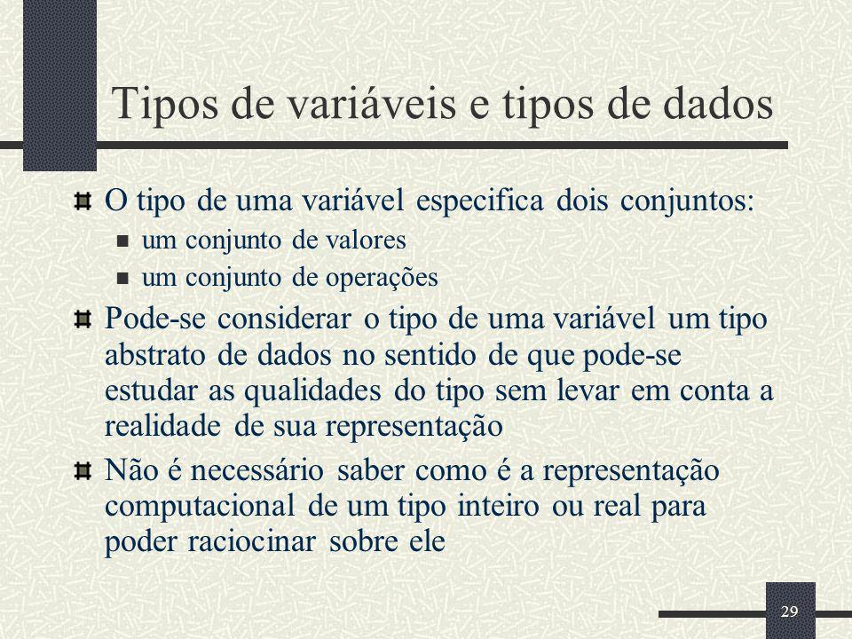 29 Tipos de variáveis e tipos de dados O tipo de uma variável especifica dois conjuntos: um conjunto de valores um conjunto de operações Pode-se consi