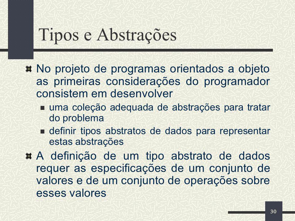 30 Tipos e Abstrações No projeto de programas orientados a objeto as primeiras considerações do programador consistem em desenvolver uma coleção adequ