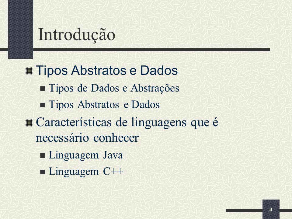 4 Tipos Abstratos e Dados Tipos de Dados e Abstrações Tipos Abstratos e Dados Características de linguagens que é necessário conhecer Linguagem Java L