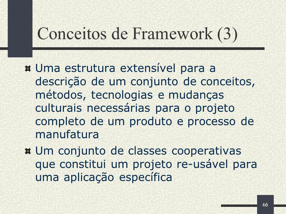 46 Conceitos de Framework (3) Uma estrutura extensível para a descrição de um conjunto de conceitos, métodos, tecnologias e mudanças culturais necessá