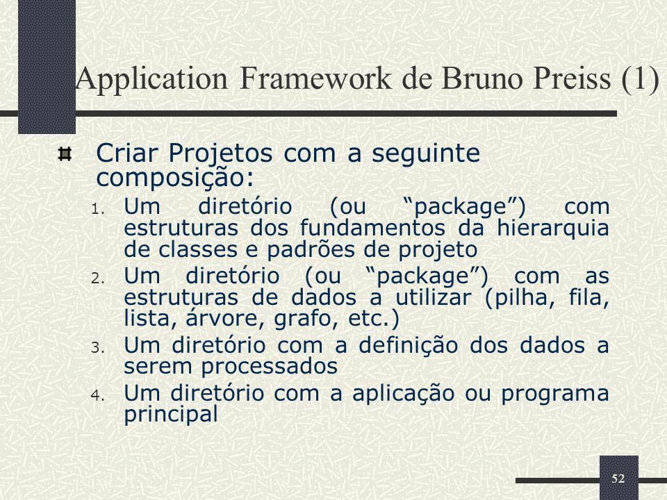 52 Application Framework de Bruno Preiss (1) Criar Projetos com a seguinte composição: 1. Um diretório (ou package) com estruturas dos fundamentos da