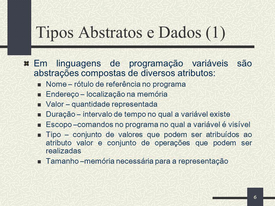 6 Tipos Abstratos e Dados (1) Em linguagens de programação variáveis são abstrações compostas de diversos atributos: Nome – rótulo de referência no pr