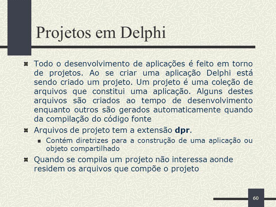 60 Projetos em Delphi Todo o desenvolvimento de aplicações é feito em torno de projetos. Ao se criar uma aplicação Delphi está sendo criado um projeto