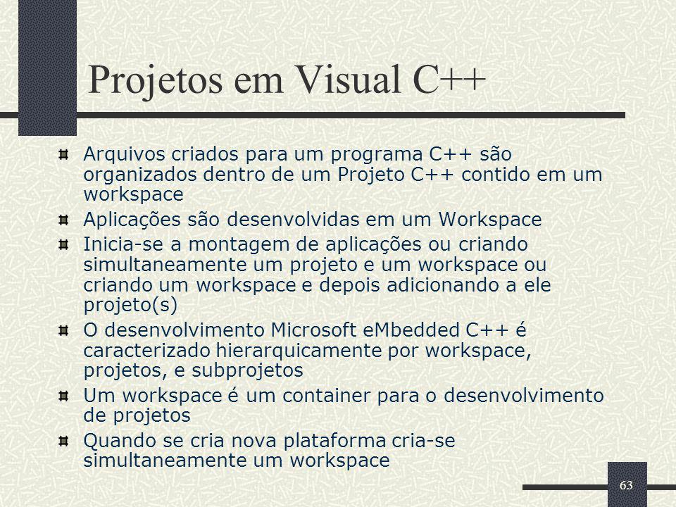 63 Projetos em Visual C++ Arquivos criados para um programa C++ são organizados dentro de um Projeto C++ contido em um workspace Aplicações são desenv