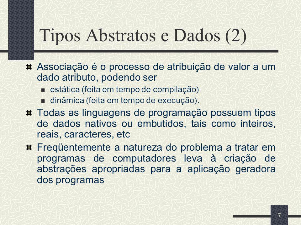7 Tipos Abstratos e Dados (2) Associação é o processo de atribuição de valor a um dado atributo, podendo ser estática (feita em tempo de compilação) d