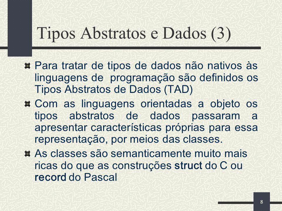 8 Tipos Abstratos e Dados (3) Para tratar de tipos de dados não nativos às linguagens de programação são definidos os Tipos Abstratos de Dados (TAD) C
