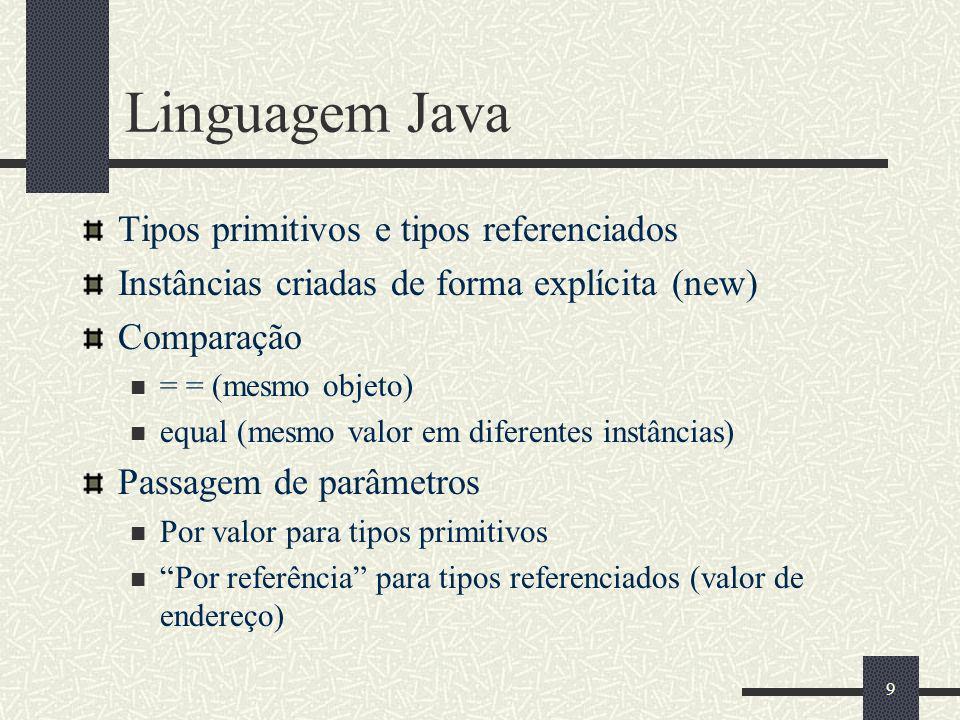 9 Linguagem Java Tipos primitivos e tipos referenciados Instâncias criadas de forma explícita (new) Comparação = = (mesmo objeto) equal (mesmo valor e